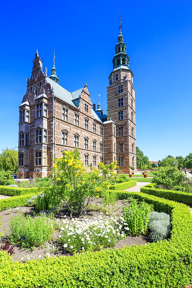Gardens and Rosenborg Castle built in the Dutch Renaissance style, Copenhagen, Denmark, Europe