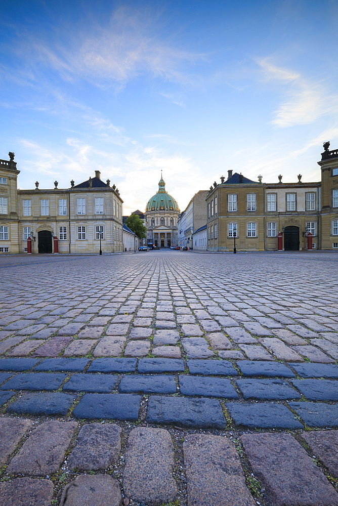 View of Amalienborg Palace towards Marble Church from Palace Square, Copenhagen, Denmark, Europe - 1179-2438