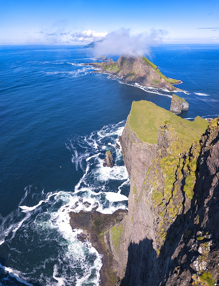 Panoramic of the sea stacks of Drangarnir and Tindholmur islet, Vagar Island, Faroe Islands