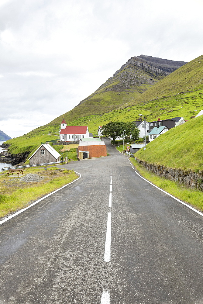 Road to the village, Kunoy Island, Nordoyar, Faroe Islands, Denmark, Europe