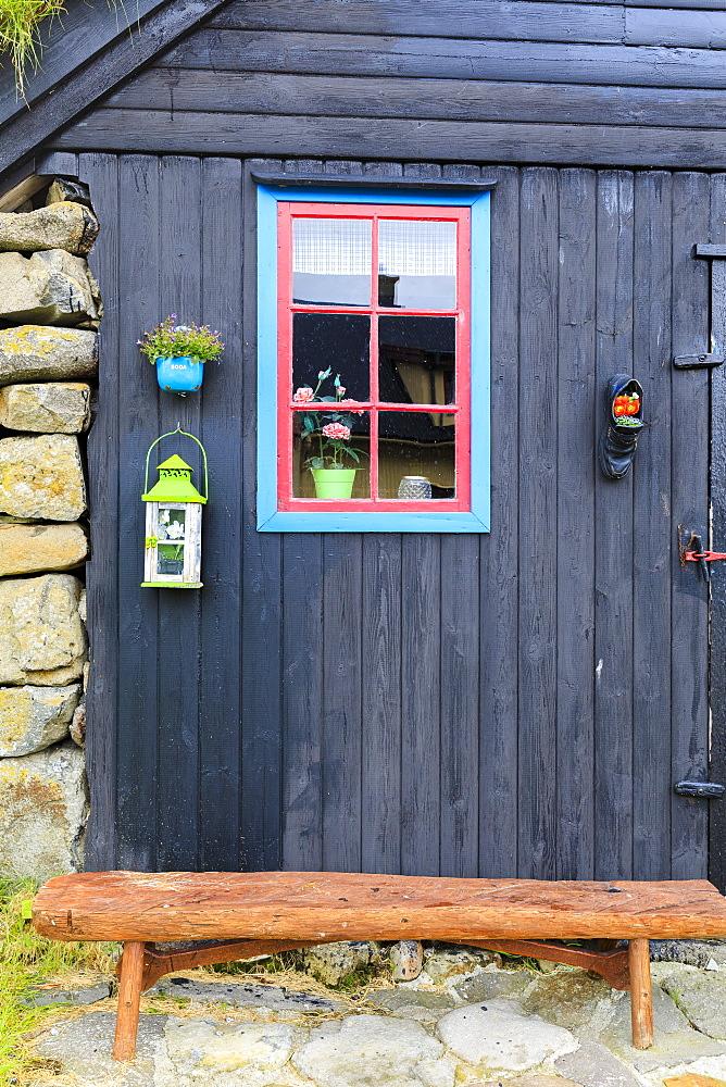 Decorated house, Kunoy Island, Nordoyar, Faroe Islands, Denmark, Europe