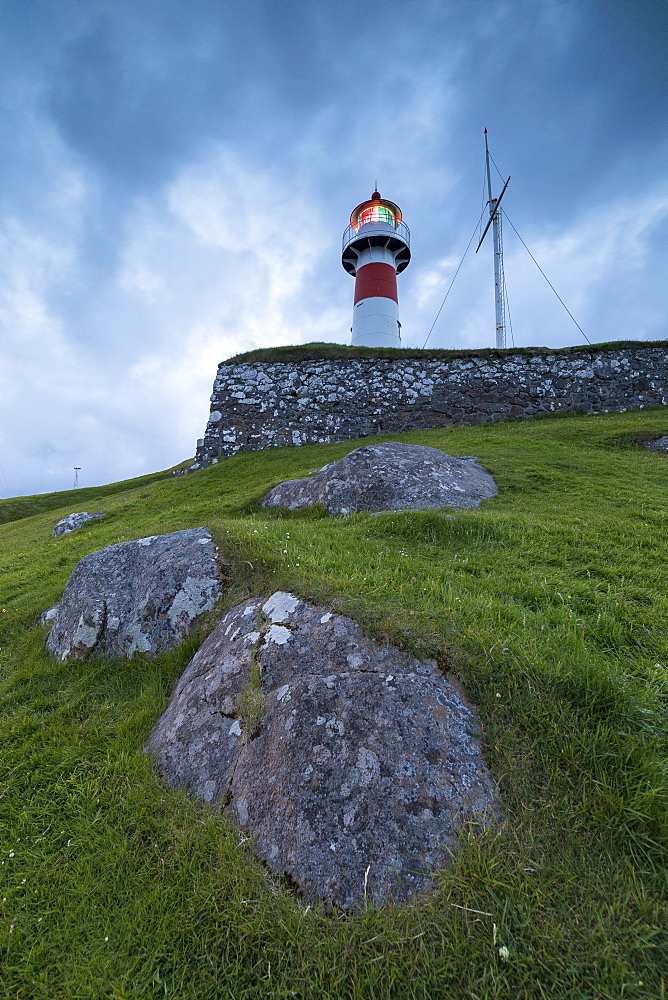 Lighthouse at Skansin fortress, Torshavn, Streymoy Island, Faroe Islands, Denmark, Europe