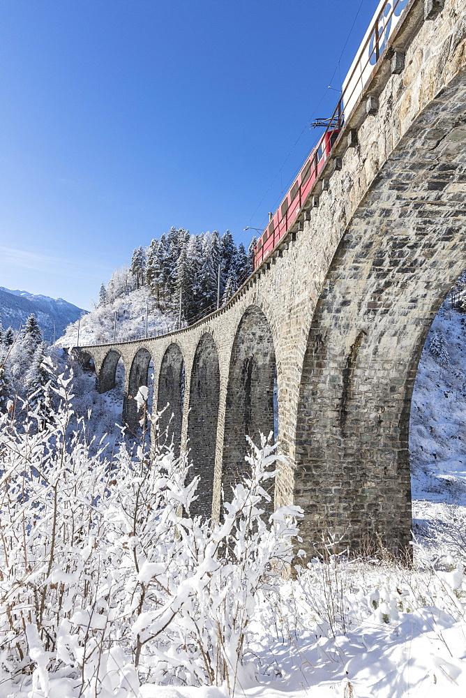Bernina Express train on Landwasser Viadukt, Filisur, Albula Valley, Canton of Graubünden, Switzerland - 1179-2980