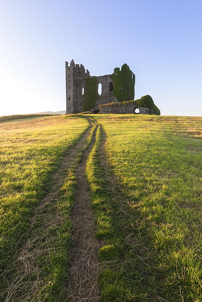 Grass fields around Ballycarbery Castle, Cahersiveen, County Kerry, Munster, Republic of Ireland, Europe