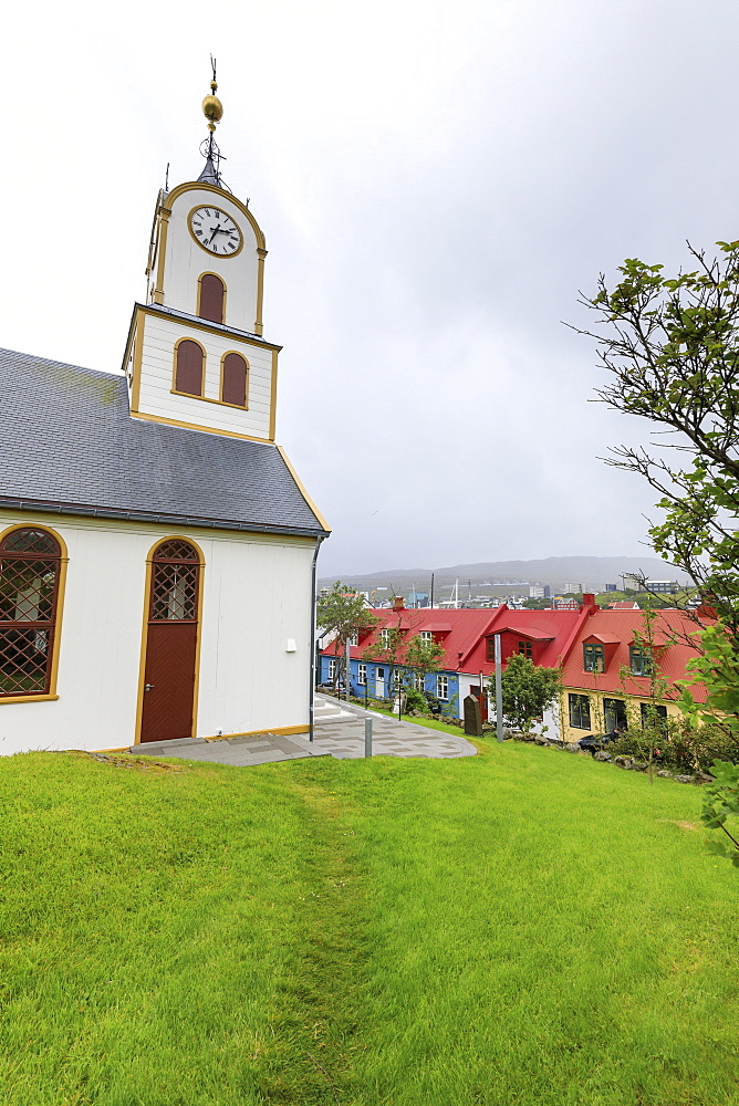 Cathedral near the harbour of Torshavn, Streymoy Island, Faroe Islands, Denmark, Europe