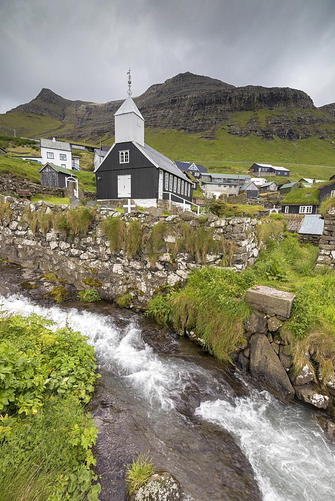 Church of Bour, Vagar Island, Faroe Islands, Denmark, Europe