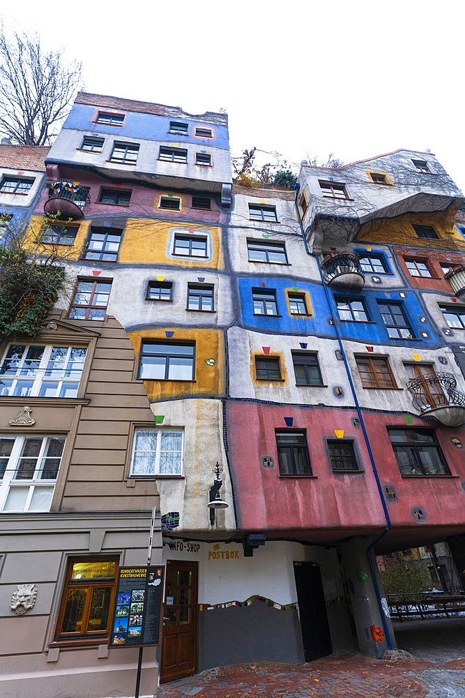 Colorful facades of apartments in the iconic Hundertwasser Village, Hundertwasserhaus, Vienna, Austria, Europe