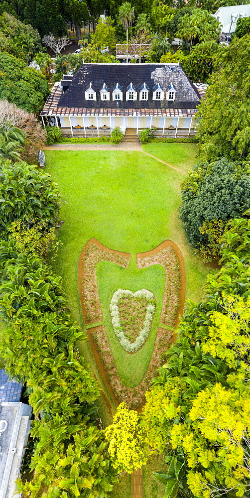 Heart shape in the ornamental gardens of Eureka La Maison Creole, colonial house, aerial view, Moka, Mauritius, Indian Ocean, Africa - 1179-4123