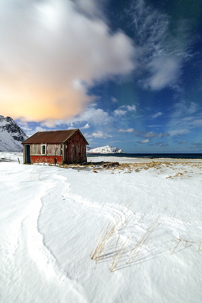 House surrounded by snow in a cold winter day, Flakstad, Lofoten Islands, Arctic, Norway, Scandinavia, Europe