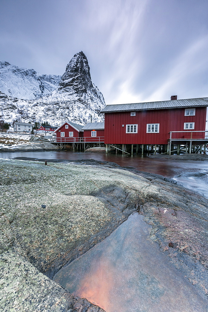 Typical red houses of fishermen called Rorbu, Reine. Lofoten Islands, Northern Norway, Scandinavia, Arctic, Europe