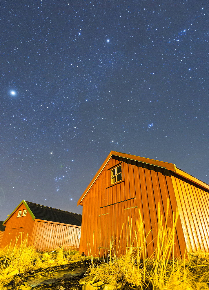 Typical houses of the fishermen under the stars, Froya Island, Trondelag, Norway, Scandinavia, Europe