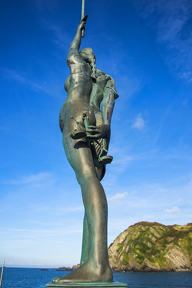 Verity Statue in the harbour of Ifracombe, North Devon, England, United Kingdom, Europe