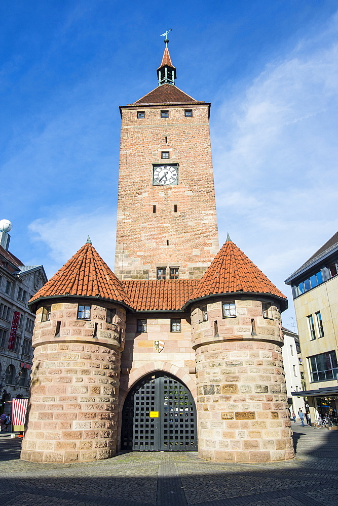 Weisser Turm (White Tower) in the pedestrian zone, Nuremberg, Bavaria, Germany, Europe