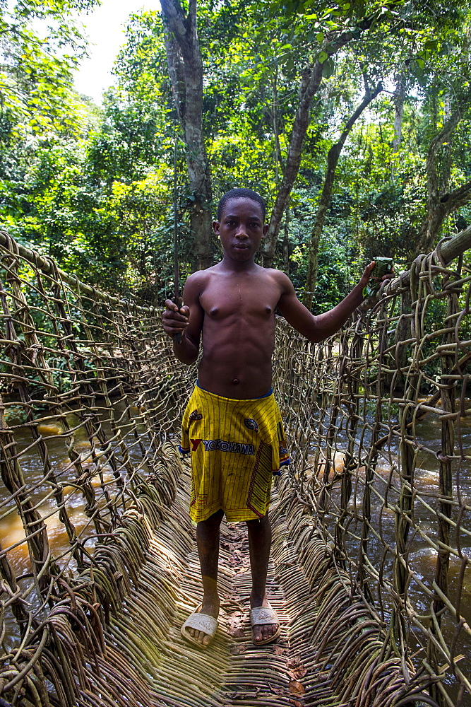 Pygmie man on a hand made vine bridge in the Unesco world heritage sight Dzanga-Sangha Park, Central African Republic - 1184-2018
