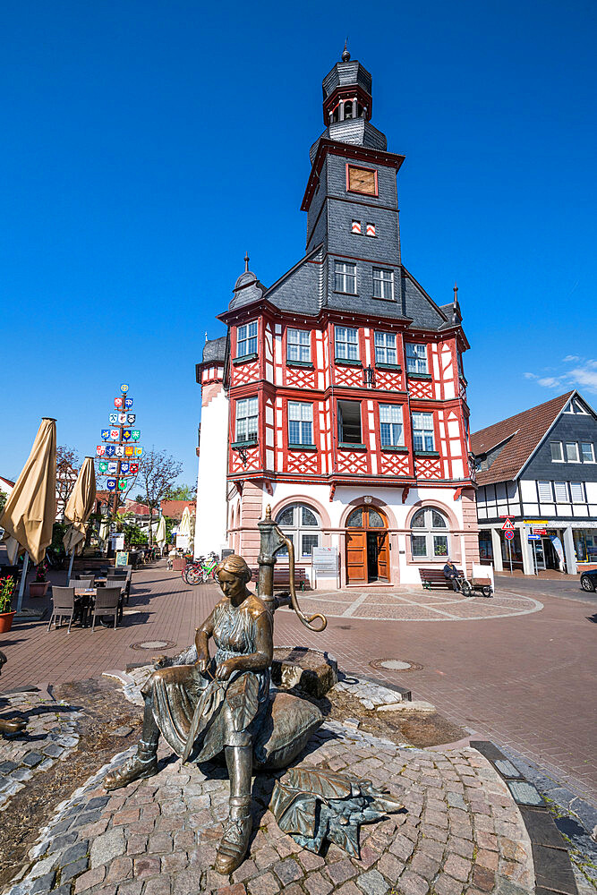Market square with the old town hall of Lorsch, Hesse, Germany - 1184-3268