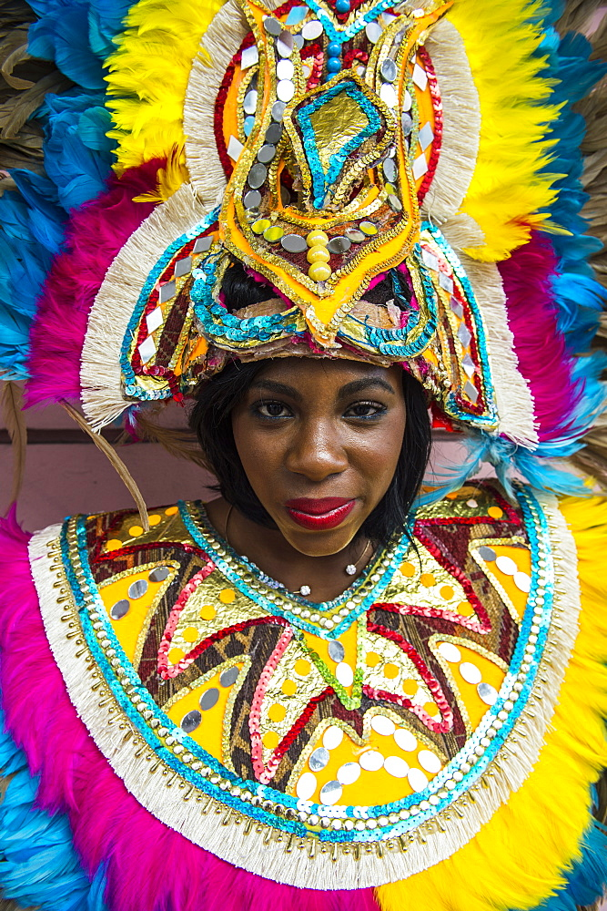 Woman posing for the carneval, Nassau, New Providence, Bahamas, Caribbean - 1184-339