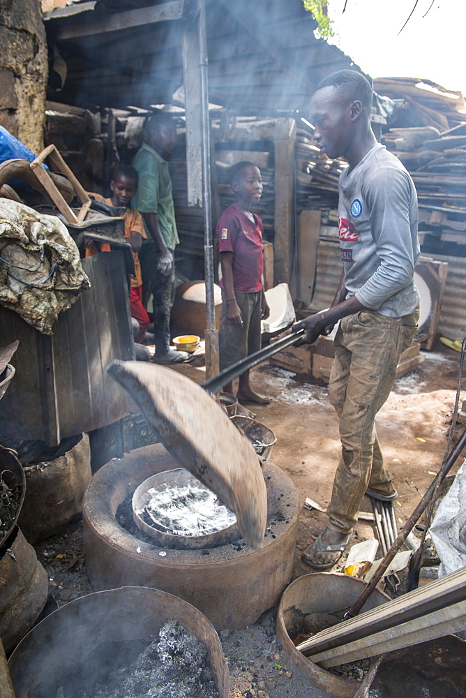 Steel recycling at the Central market, Niamey, Niger