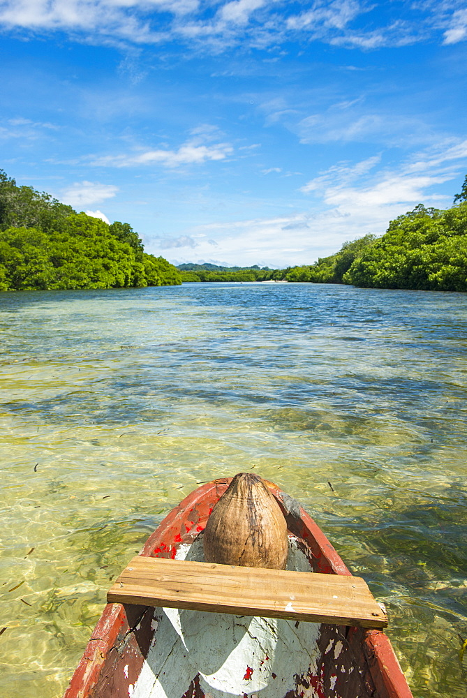 Crystal clear water in the Utwe lagoon, UNESCO Biosphere Reserve, Kosrae, Federated States of Micronesia, South Pacific