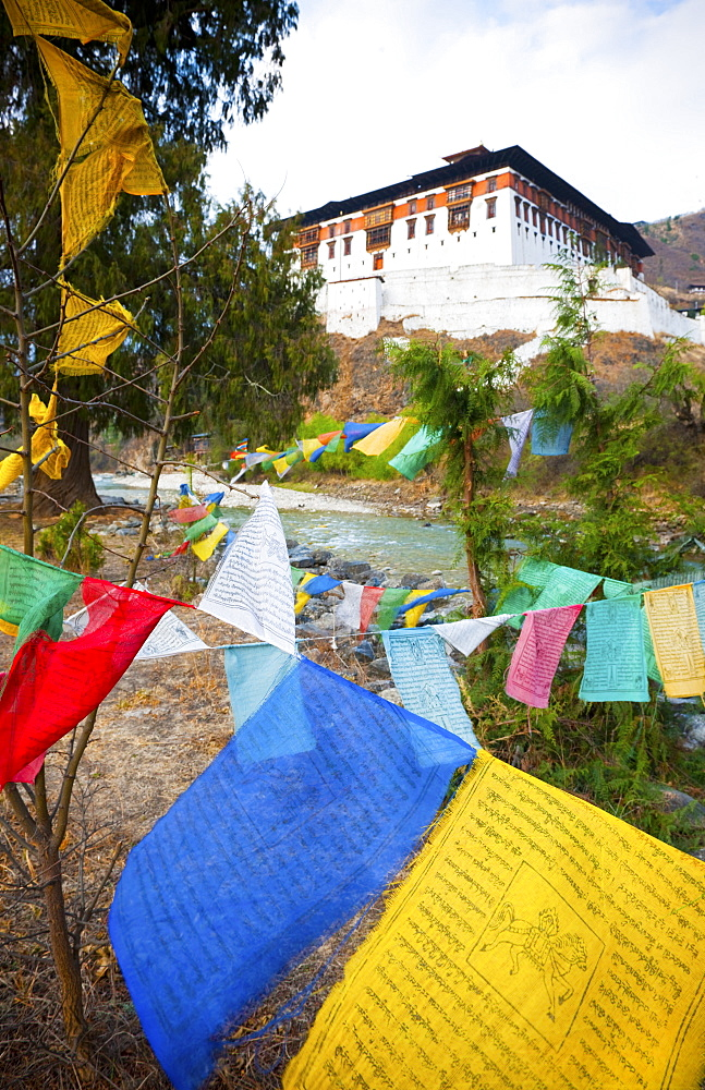 Prayer flags and Rinpung Dzong, Paro District, Bhutan, Asia - 1186-1