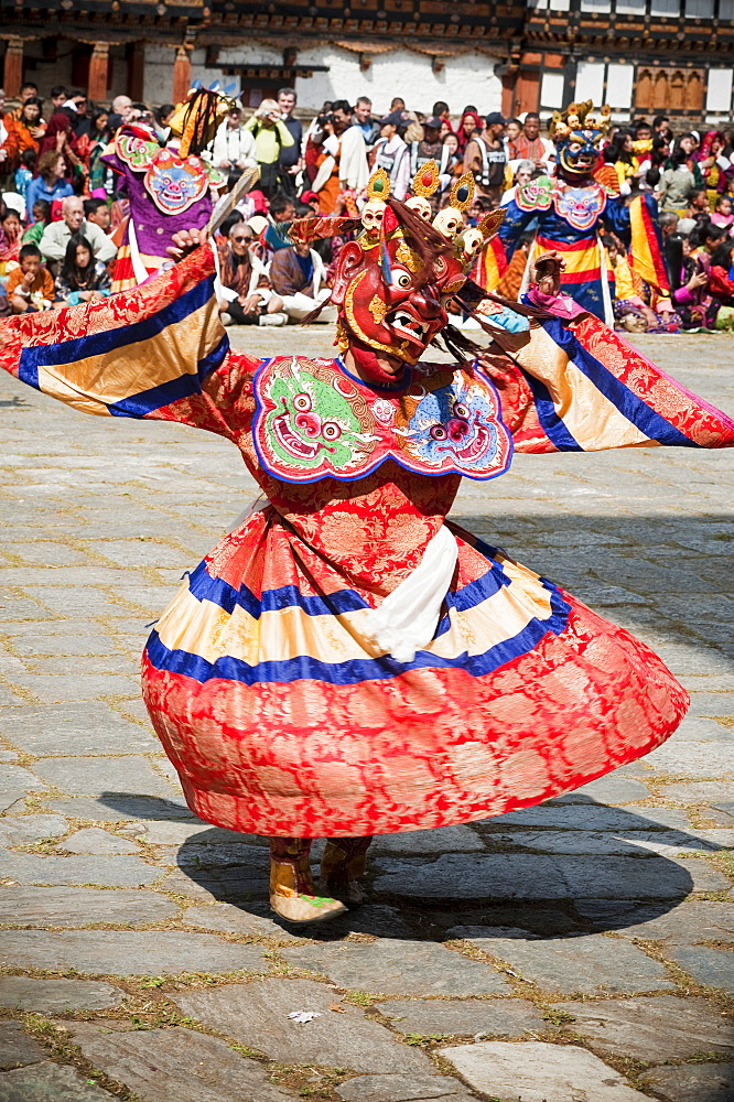 Traditional dancer at the Paro Festival, Paro, Bhutan, Asia - 1186-15
