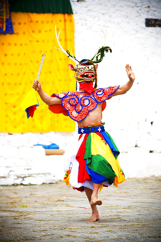 Traditional dancer at the Paro festival, Paro, Bhutan, Asia - 1186-18