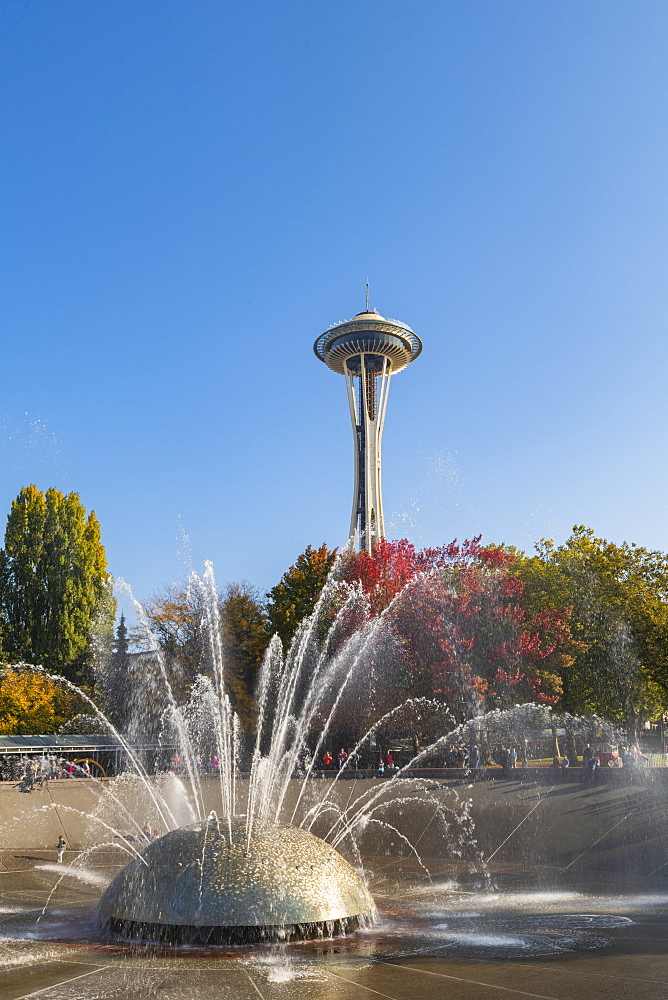 MoPoP fountain and Space needle Seattle, Washington, United States of America