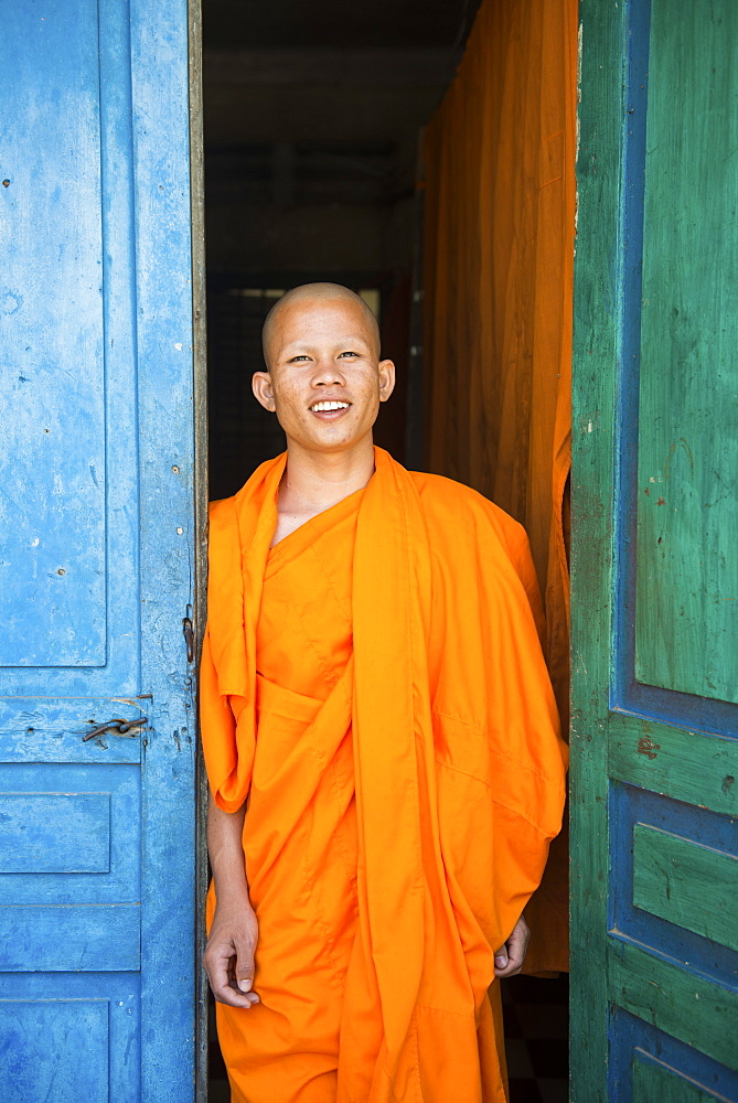 Young monk in Wat Preah Ang Monastery, Siem Reap, Cambodia, Indochina, Southeast Asia, Asia