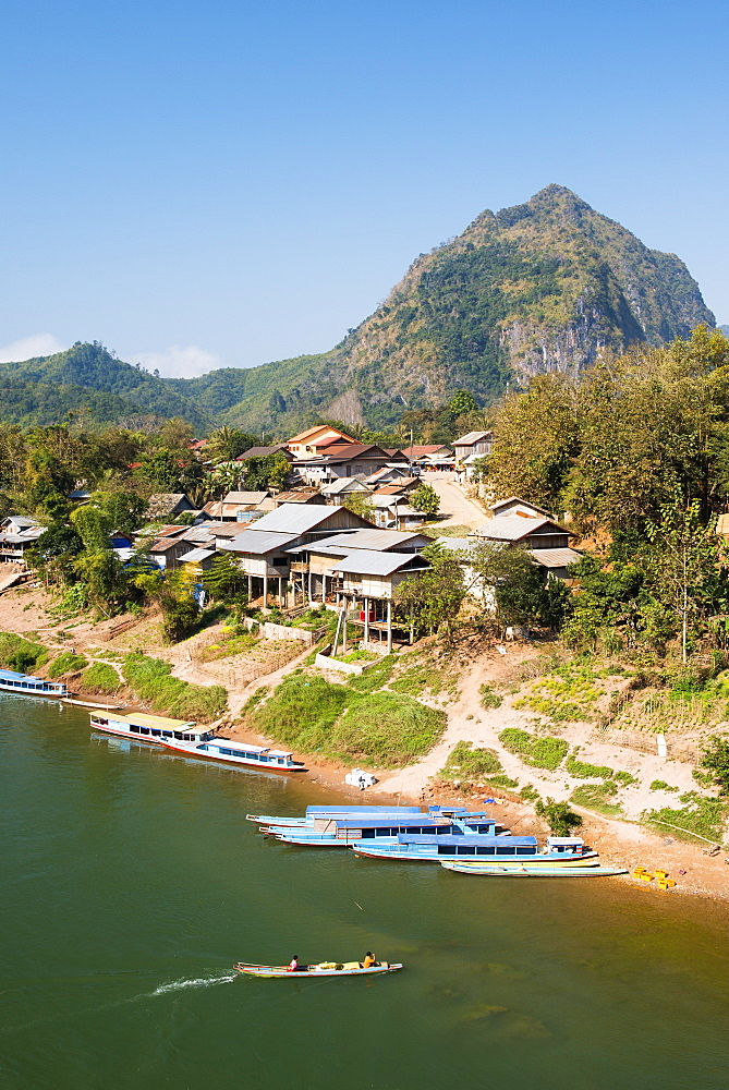 Boats on the Ou River, Nong Khiaw, Luang Prabang area, Laos, Indochina, Southeast Asia, Asia
