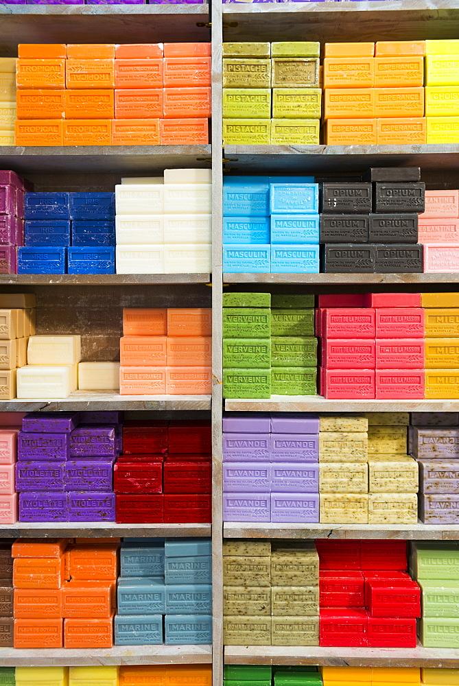 Colourful soaps, Aix en Provence, Bouches du Rhone, Provence, Provence-Alpes-Cote d'Azur, France, Europe