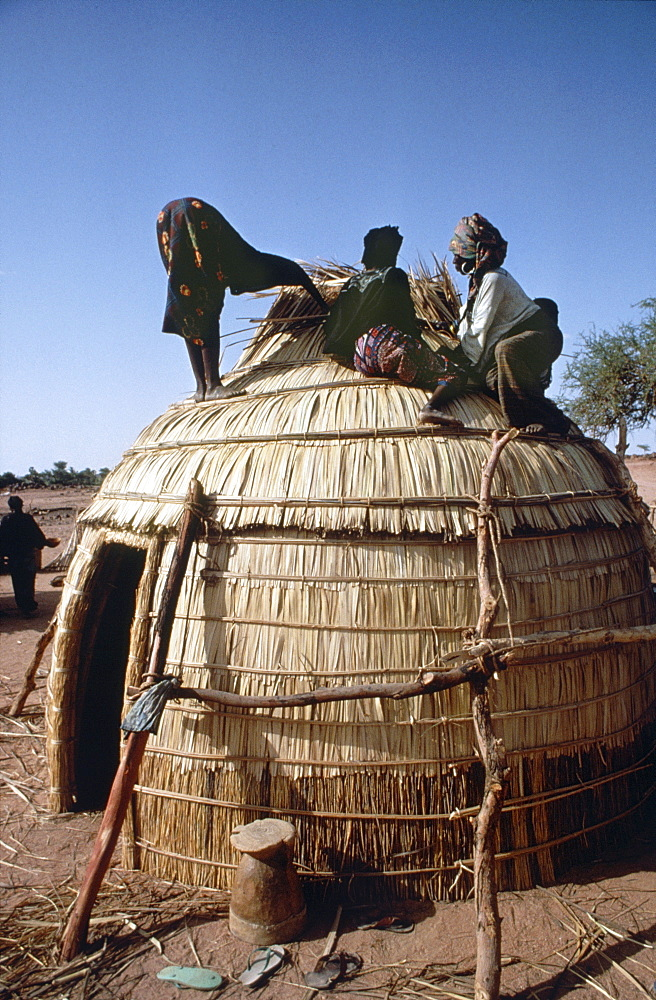 Homebuilding, niger (west africa). Tahoua village. Women building a traditional house