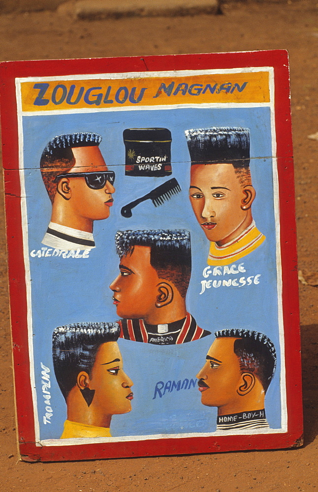Shop signs, ivory coast. Daloa town. Hairdressers sign