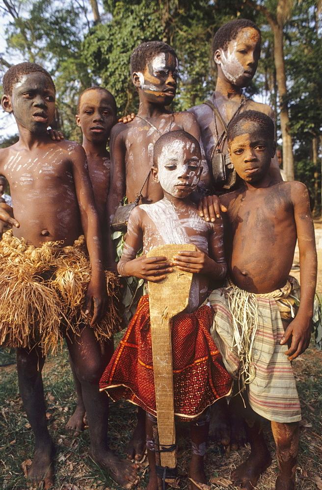 Children, ivory coast. Gbetitapea village, daloa town. Children in traditional dress