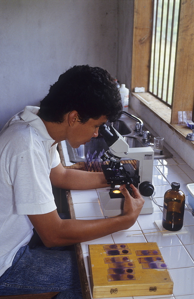 Testing for malaria, venezuelan amazonas. Serra parima, niyayobaten village. Blood samples being tested for malaria at caicet field hospital. Deadly strains of malaria, which the yanomami have no resistance to, have probably been brought into the region by illegal goldminers. Thousands of yanomami have died of malaria, which is threateneing the tribe with extinction. The field hospital is powered by solar panels