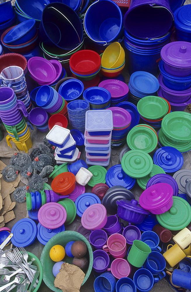 Market, ivory coast. Ferekessedougou. Plastic goods for sale