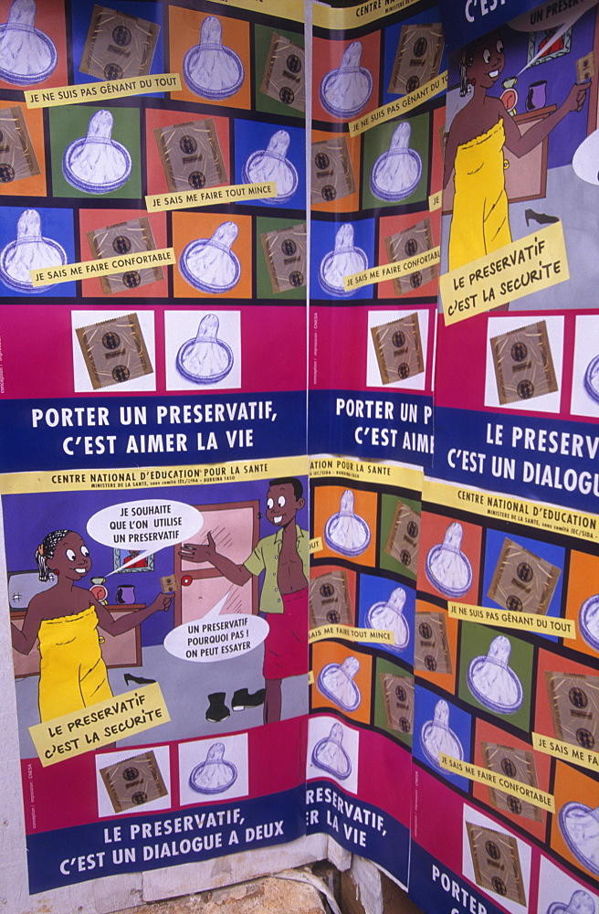 Family planning, burkina faso. Posters encouraging use of condoms