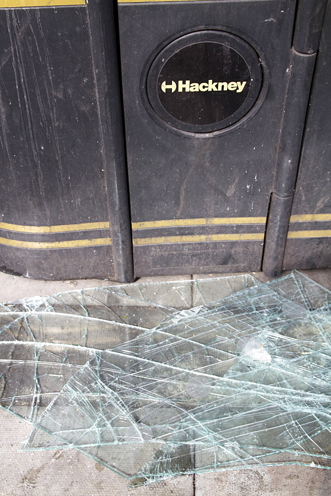 Damage caused by rioters in hackney, london, uk