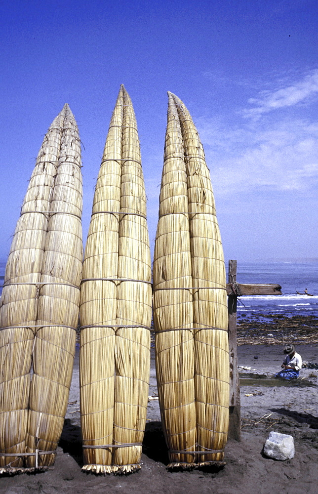 Fishing boats, peru. Trujillo. Reed boats made by fisherman on the north of the pacific coast