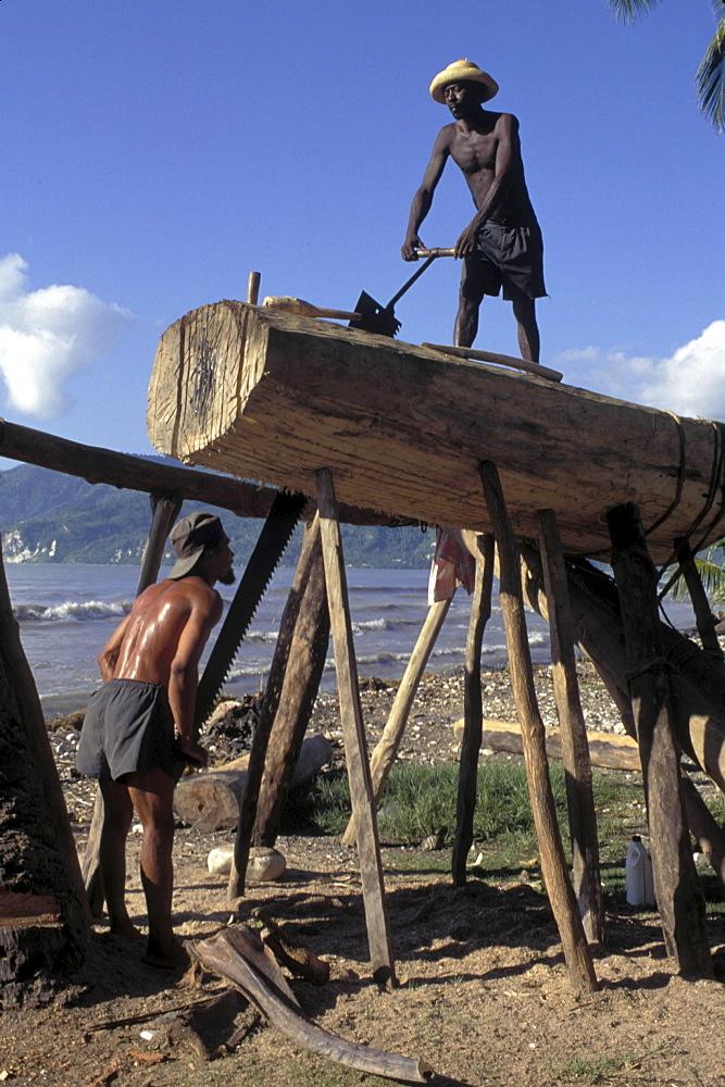Boatyard, haiti. Jacmel. Boat building