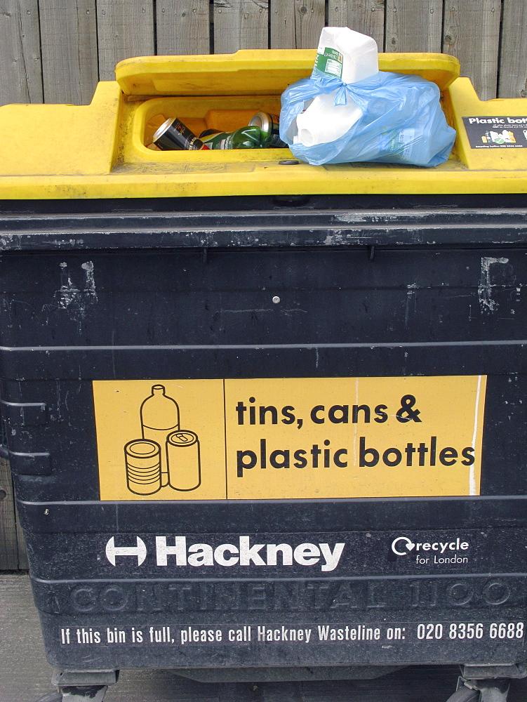 Uk recycling bins in hackney, east london