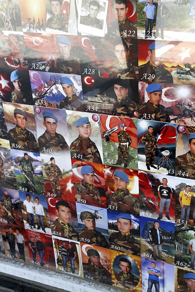 Photos of Turkish conscript soldiers at a shop in occupied North Cyprus, along the Green Line in Nicosia