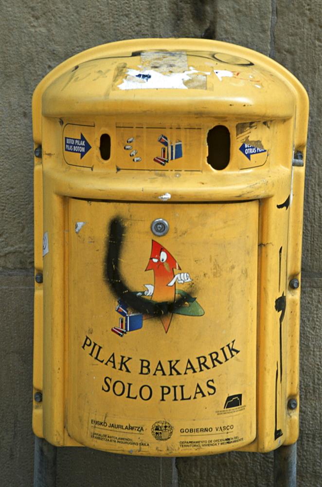 Spain, battery recyling bin in bilbao in the basque country