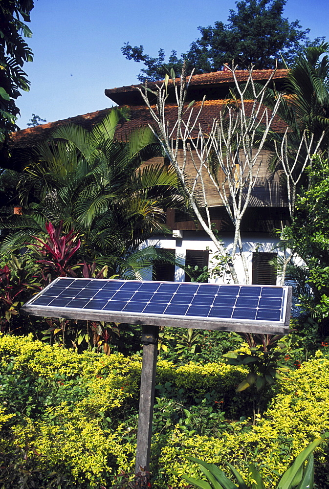 Solar energy, indonesia. Solar panel in an eco-tourism centre in east java