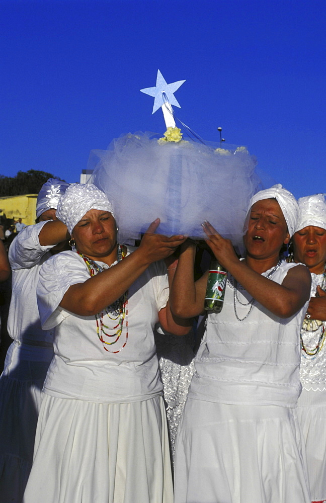 Religion, uruguay. Montevideo. Traditional afro-uruguayan iemanja blessing of the waters ceremony during carnival festival