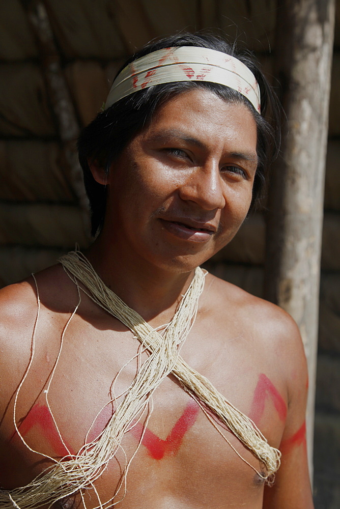 Native Huaorani people at Yasuni National Park, Amazon, Ecuador, South America