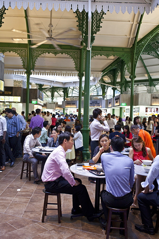 Office workers have lunch at a food court in Singapore, Southeast Asia, Asia