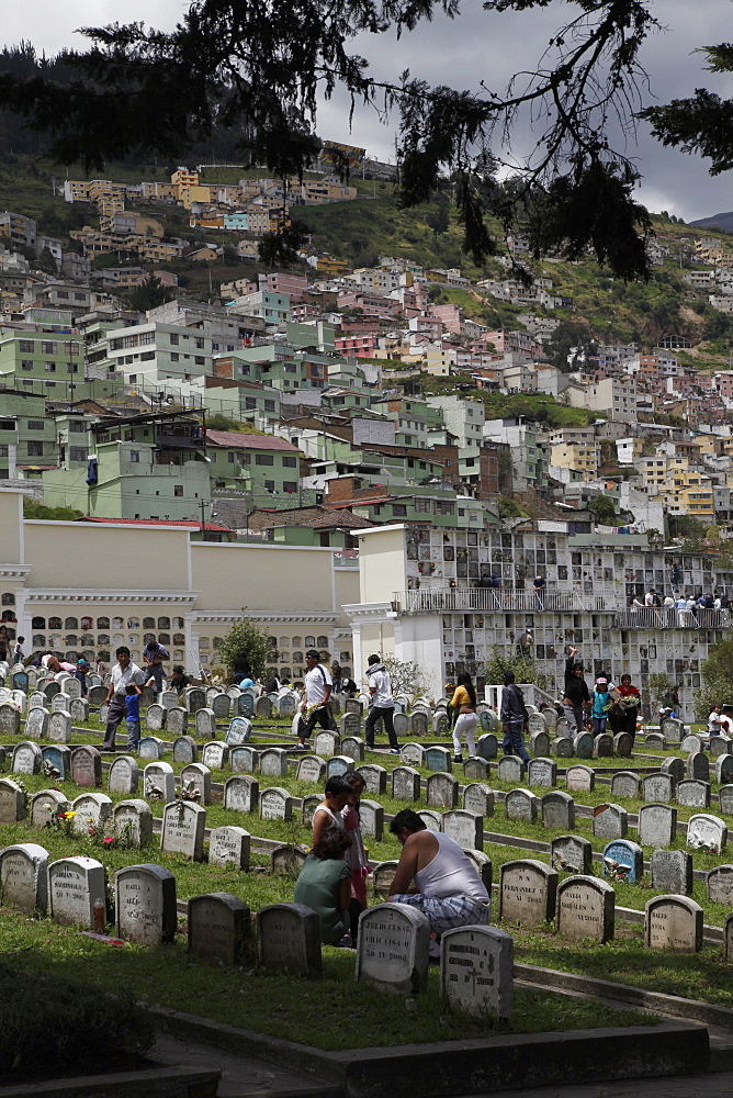 Day of the Dead remembrance at cemetery in Quito, Ecuador, South America