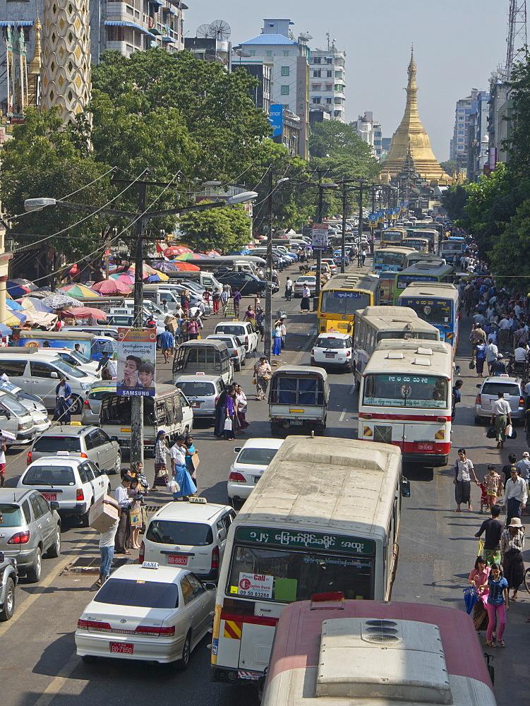 Traffic jam in Yangon (Rangoon), Myanmar (Burma), Asia