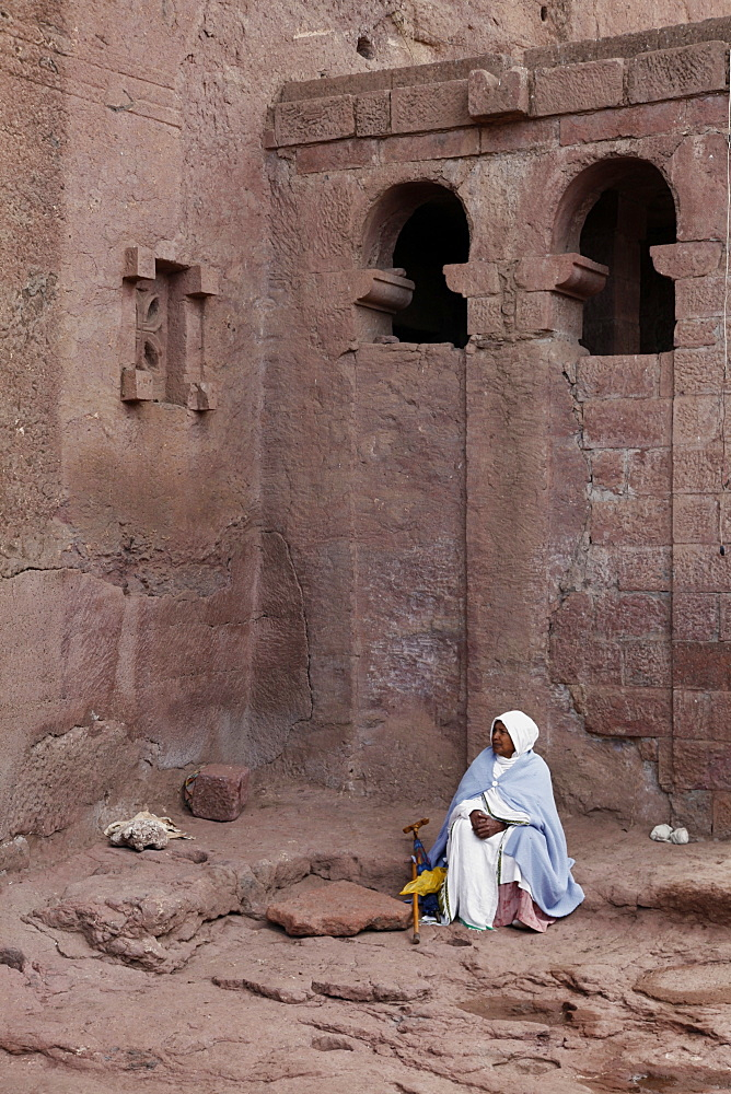 Pilgrim during the Easter Orthodox Christian religious celebrations in the ancient rock-hewn churches of Lalibela, Ethiopia, Africa