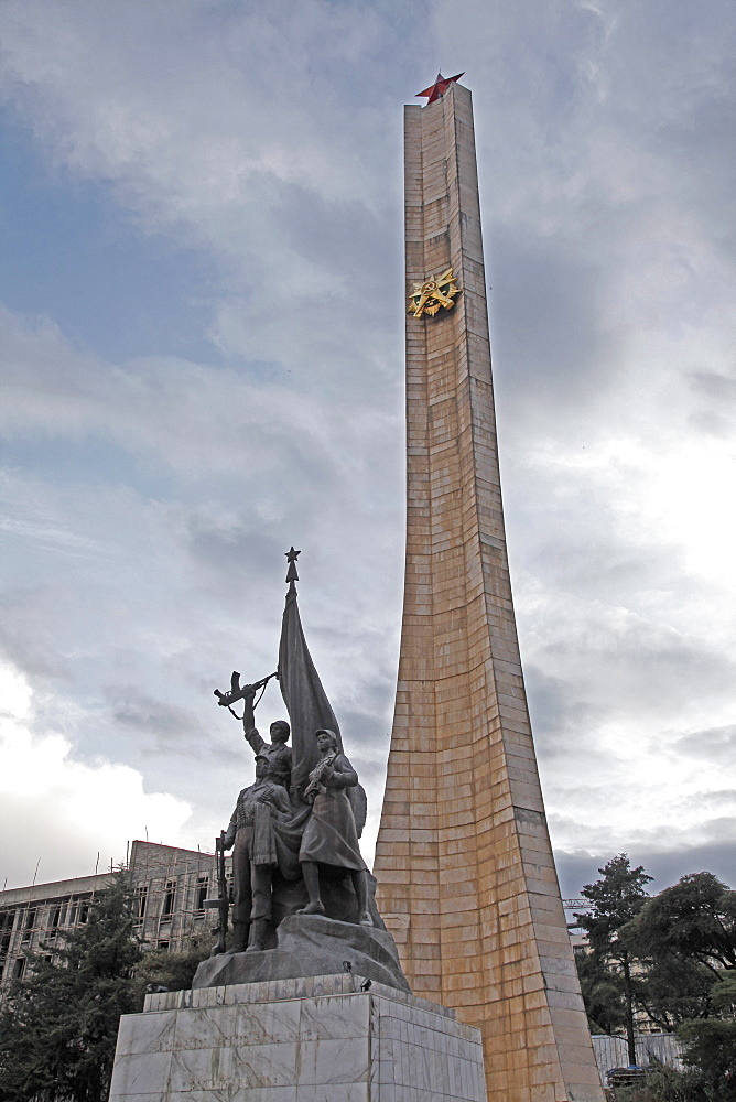 Monument to the Derg communist military junta, led by Mengitsu Haile Mariam, that ruled Ethiopia from 1974 to 1987, in Addis Ababa, Ethiopia, Africa