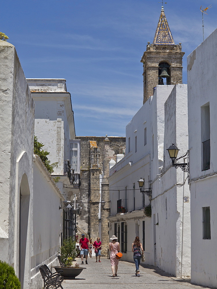 Tourists in the old town of Vejer de la Frontera in Andalucia, Spain, Europe - 1188-846